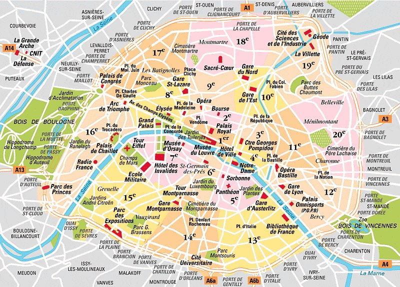 carte de paris arrondissements