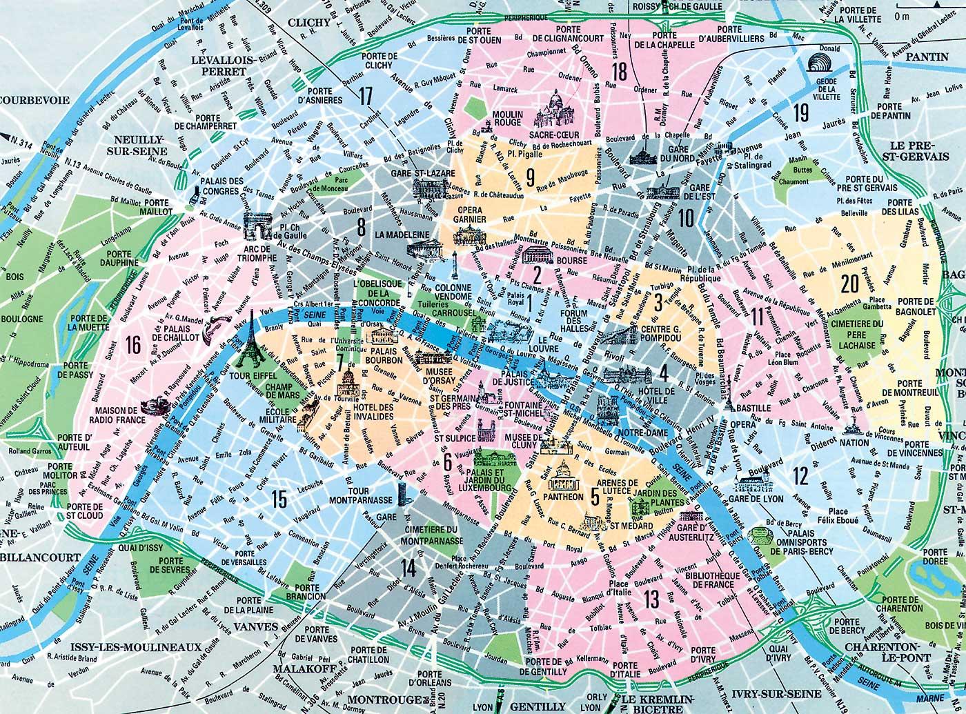 carte paris avec arrondissements